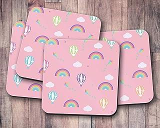Posavasos rosa con diseño de globo aerostático multicolor y arcoíris, posavasos individuales o juego de 4