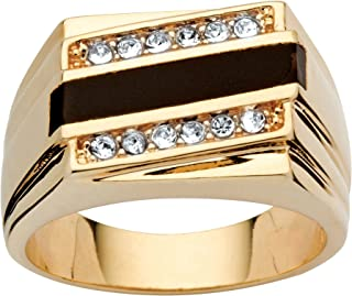 Men's 14K Yellow Gold Plated Emerald Cut Natural Black...