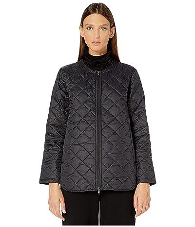 Eileen Fisher Diamond Recycled Nylon Shirttail Flight Coat (Black) Women