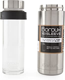 Boroux SLEEVE-Insulated Thermos Water Bottle .5 LITER. Handmade Pure Borosilicate Glass Water Bottle with DOUBLE WALLED STAINLESS STEEL VACUUM SEALED PROTECTION. No Slip Grip Technology