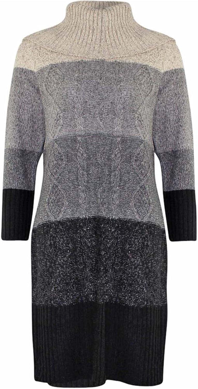 Luxury Divas Lush Long Sleeve Cable Knit Sweater Dress