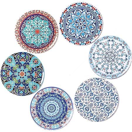 Bohoria Premium Design Untersetzer 6er Set Dekorative Untersetzer Fur Glas Tassen Vasen Kerzen Auf Ihrem Holz Glas Oder Stein Esstisch Boho Edition Orient Küche Haushalt