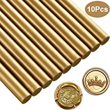 Sealing Wax Sticks, 10 Pcs Glue Gun Sealing Wax for Retro Vintage Wax Seal Stamp, Great for Wedding Invitations, Cards Letter Envelopes, Snail Mails, Wine Packages, Gift Ideas (Gold)