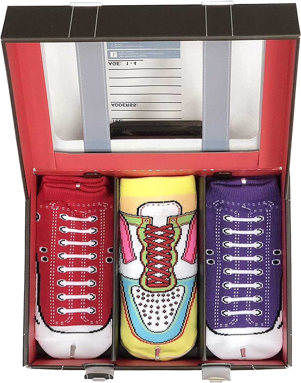B&EGG Kids' Low Cut Casual Socks 3 Pack GIFT BOX   RED
