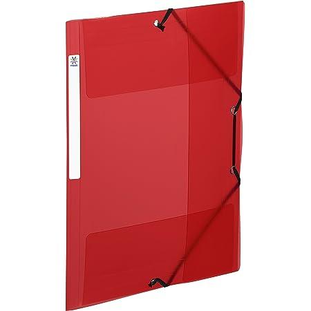 Viquel - chemise plastique a4 avec rabat et élastiques - Etiquette d'identification sur la tranche - Rouge 113743-08