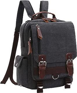 Women Men Small Canvas Backpack Shoulder Bag Men Outdoor Daypacks Unisex Travel Rucksack (black)