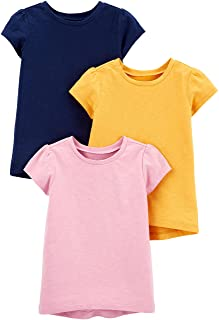 Toddler Girls' 3-Pack Solid Short-Sleeve Tee Shirts