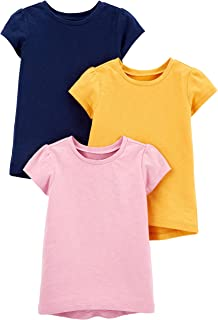 Baby and Toddler Girls' 3-Pack Solid Short-Sleeve Tee Shirts