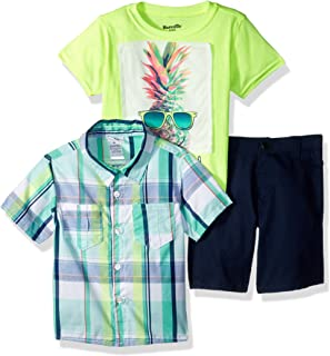 Nannette Boys 3 Piece Woven Shirt and Tee Short Set Shorts Set