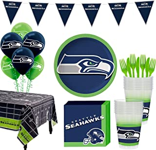 Party City Seattle Seahawks Super Party Supplies for 18 Guests, Include Plates, Napkins, Table Cover, and Balloons