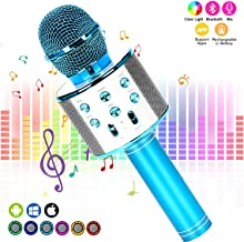Karaoke Microphone Kids, YOMYM Wireless Karaoke Microphone Bluetooth 4 in 1 Portable KTV Player Handheld Speaker for Android & iOS Devices(Blue)