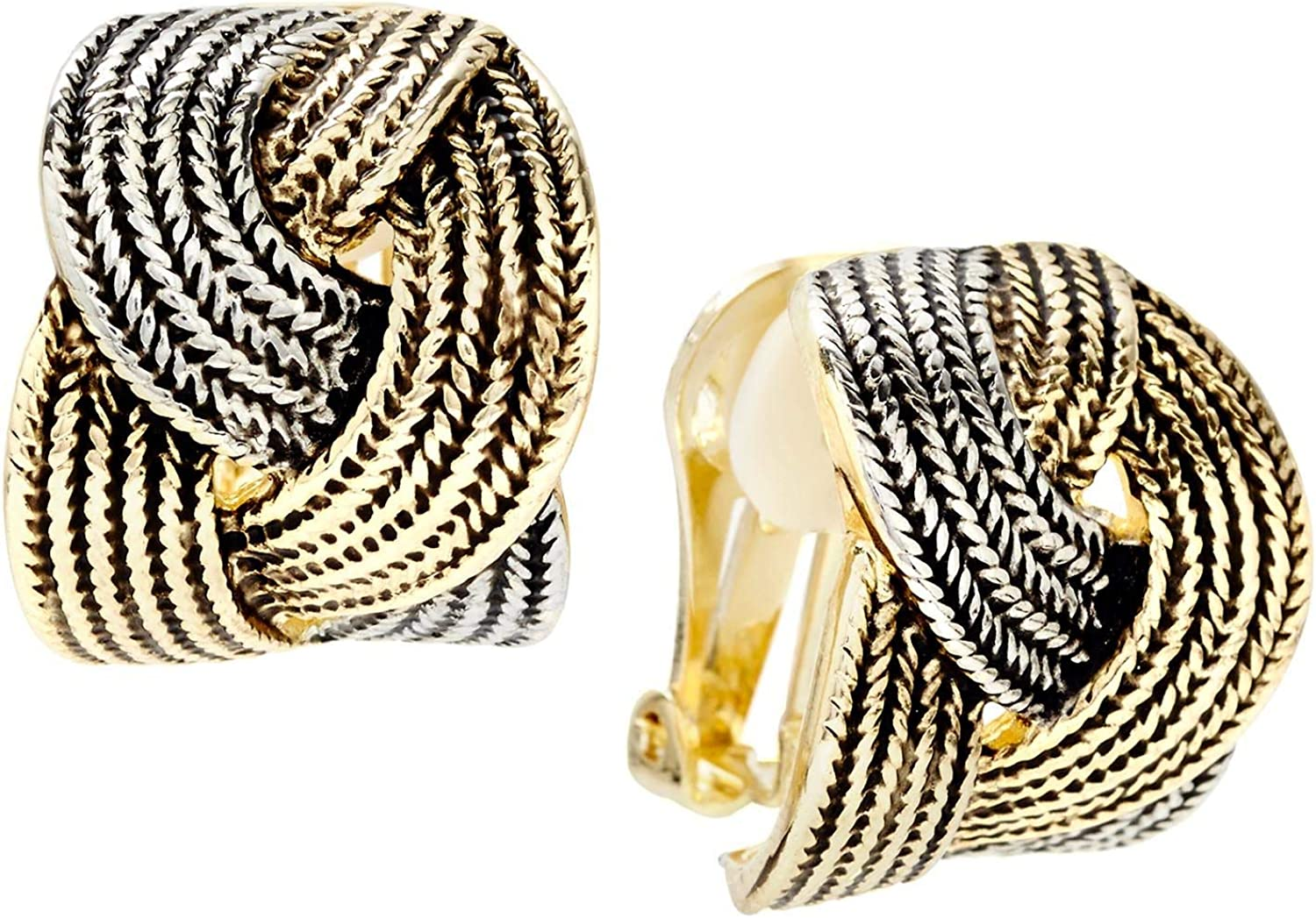 Misook Clip On Two-Tone Earrings with Interlocking Braid for Women