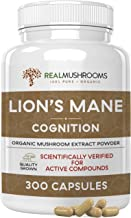 Lions Mane Cognition Capsules (300caps), Organic Lions Mane Mushroom Powder Extract Capsules, Vegan Brain Supplement, 60-Day Supply of Mushroom Supplement Brain Vitamins, Gluten-Free Focus Supplement