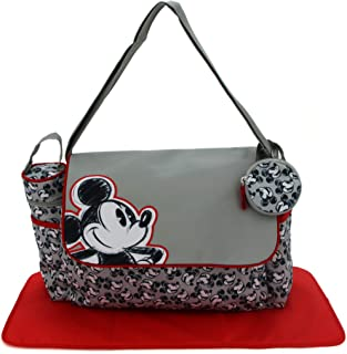 Cudlie Disney Mickey Mouse Baby Boys Multipiece Diaper Adjustable Flap Tote Bag in (Includes Changing Pad, Insulated Bottl...