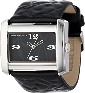 Rockwell Time Womens Vanessa Quartz Metal and Leather Dress Watch, Color:Black