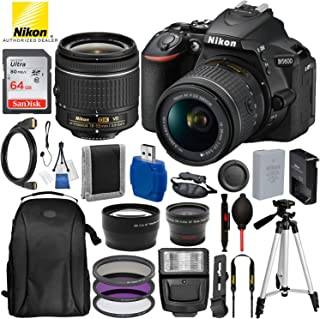 """Nikon D5600 DSLR Camera with 18-55mm Lens and 15PC Accessory Bundle – Includes SanDisk Ultra 64GB SDHC Memory Card + Digital Slave Flash + 3PC Filter Kit + 50"""" Tripod + Professional Backpack and More"""