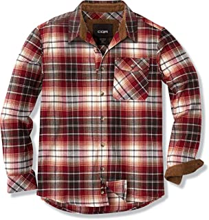 CQR Men's All Cotton Flannel Shirt, Long Sleeve Casual Button Up Plaid Shirt, Brushed Soft Outdoor Shirts