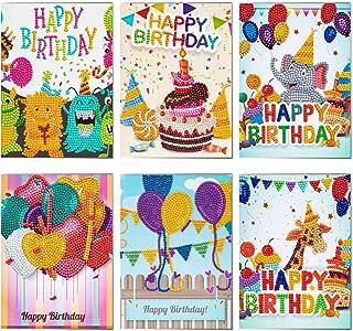 6Pcs DIY Birthday Card Diamond Handmade Painting Kits Greeting Cards