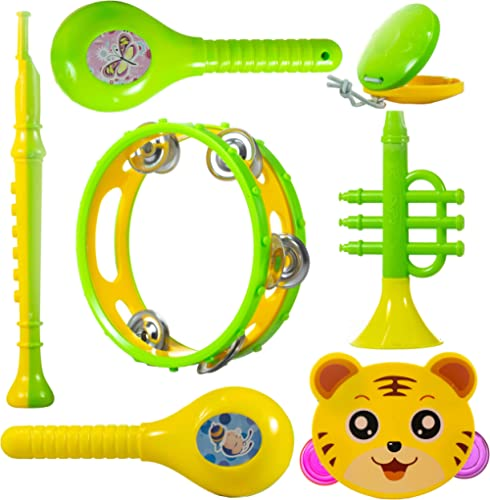 WISHKEY Colourful Plastic BPA Free Non Toxic Set of 7 Musical Instruments Rattle for New Borns,Maraca,Blowing Trumpet...
