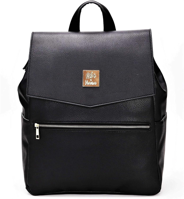 Large Convertible Soft Premium Vegan Leather Baby Diaper Bag Backpack for Travel (Black)