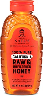 Nature Nate's 100% Pure Raw & Unfiltered California Honey; 16-oz. Squeeze Bottle; Certified Gluten Free and OU Kosher Cert...
