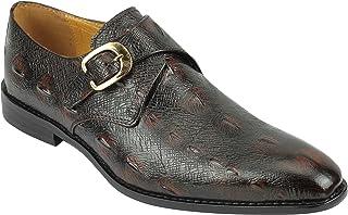 Xposed Cuir véritable Homme Snakeskin Imprimer Vintage Monk Strap Chaussures Robe Mocassins Formelles à Marron
