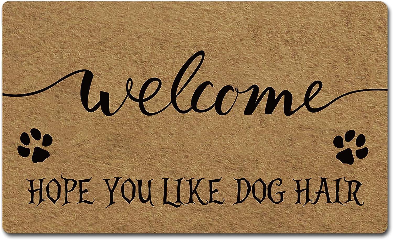 FZYTMY Funny Doormat Welcome Hope You Like Dog Hair Indoor Outdoor Entrance Floor Mat Home Front Door Mat Non Slip Backing 23.6 X 15.7 Inch
