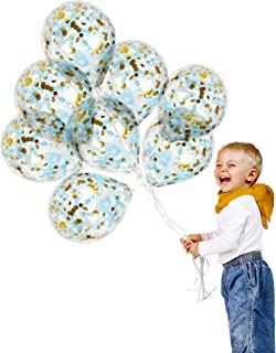 Gold and Blue Confetti Balloons 12 Pack 12 Inch Thick Premium Clear Latex for Wedding Anniversary Bachelorette Bridal Show...