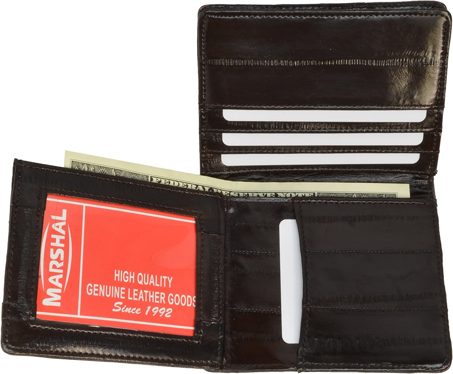 Genuine Eel Skin Leather Bifold Wallet Card Holder with Id Window by Marshal
