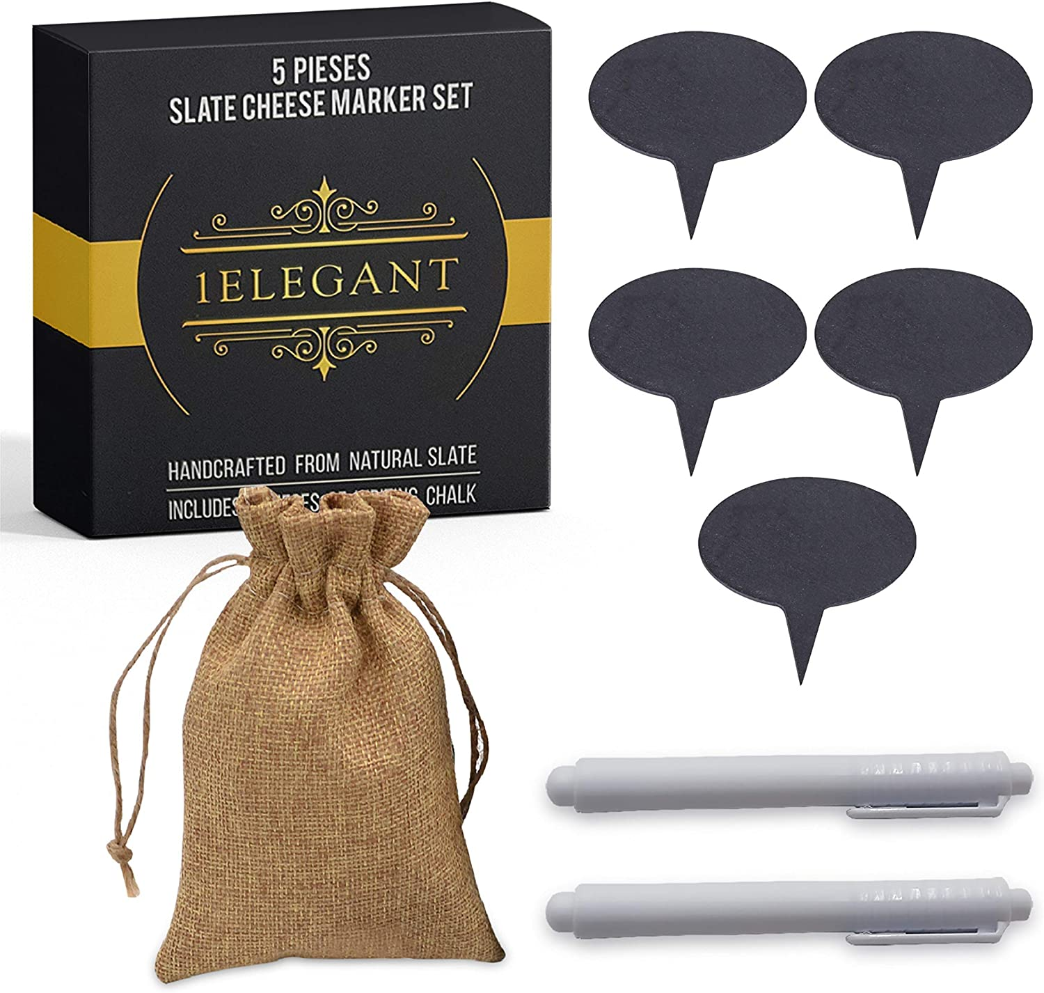 Cheese Markers Set - 5 Max 51% OFF Chalkboard Slate Cheap super special price of Made Labels Natural