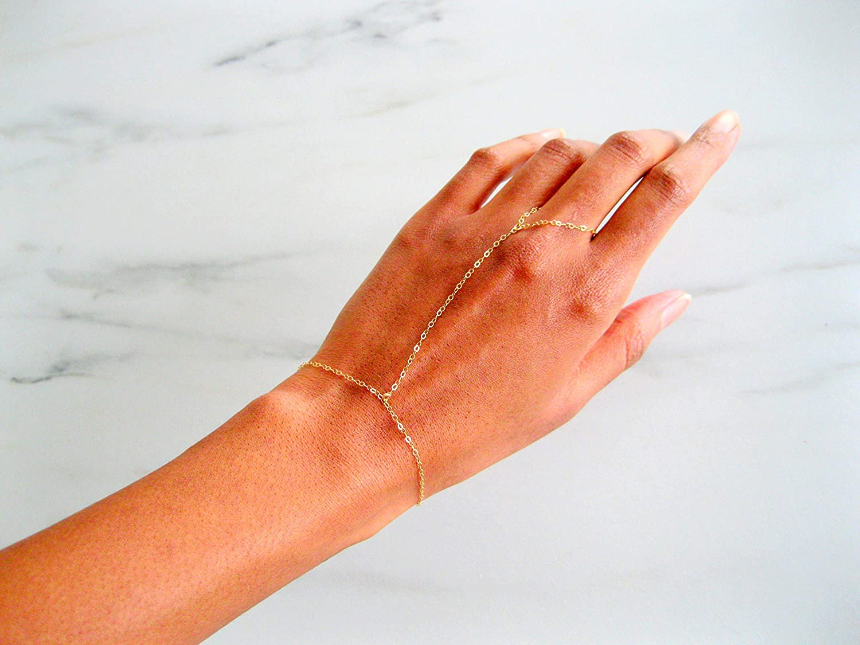 Custom 14 karat gold finger bracelet 14k OFFicial Gold Mail order Slave Bracel Real