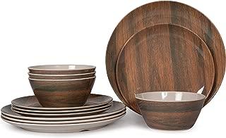 12 Pcs Melamine Dinnerware Set (Wood Grain),Camping Dishes, Lightweight Unbreakable, Dishwasher Safe