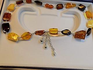 collana ambra del baltico cuori Argento,tutto rifinito con argento 925