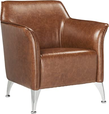 Benjara Leatherette Accent Chair with Track Armrest and Welt Trim Details, Brown