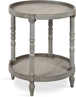Kate and Laurel Bellport Shabby Chic Round Side Accent Table or Plant Stand with Turned Legs and Lower Shelf, Distressed Gray Finish