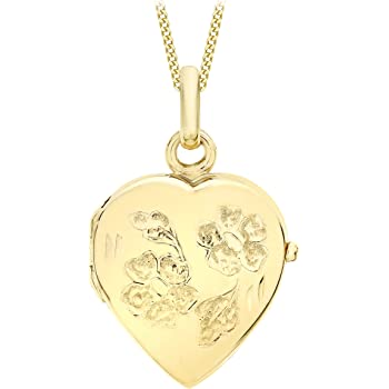 Real 375 9ct Rose Gold Oval Floral Locket on Chain 16-20 Inches Flowers Pretty