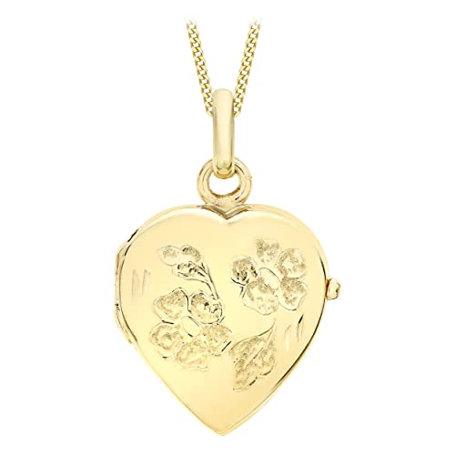 747922452ff Carissima Gold 9ct Yellow Gold Heart Daisy Locket Pendant on Curb Chain  Necklace of 46cm/