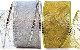 Xmas Ribbon - Ribbons Set 25 Yard Gift Wrap Ribbon Wired 2.5 inch Gold & Silver Sheer Organza 2 Pack Rolls 50 Yd Kit for Craft, Wedding Decoration, Christmas Tree, Florist, Holiday Gifts