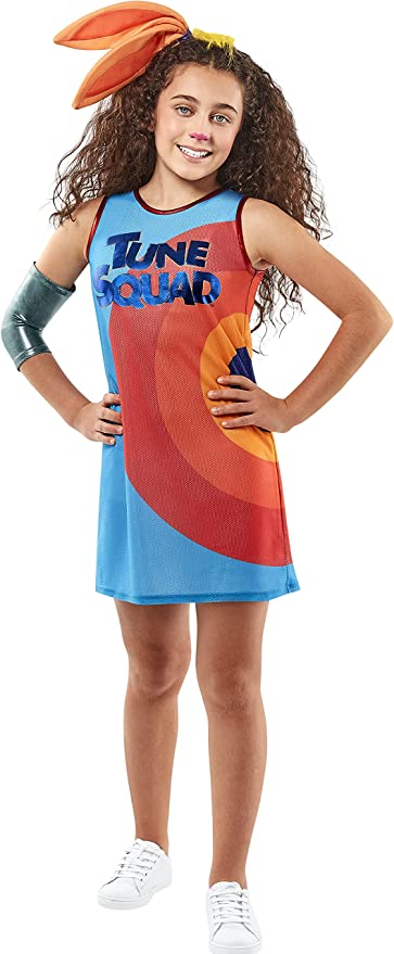 60s 70s Kids Costumes & Clothing Girls & Boys Rubies Girls Warner Bros. Space Jam Lola Bunny Tune Squad Costume Large  AT vintagedancer.com