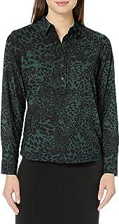 Amazon Brand - Lark & Ro Women's Long Sleeve Popover Collared Blouse