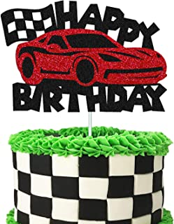 Cars Cake Topper Happy Birthday Sign Cake Decorations for Man Kids Boys Racing Car Checkered Flag Themed Bday Party Suppli...