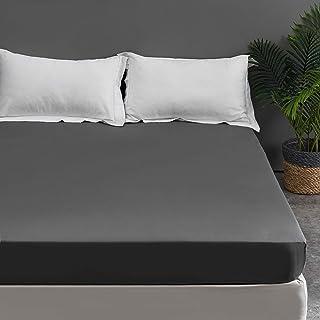 MOHAP Drap Housse 140x190/200cm Gris 100% Coton 300 TC Bonnet Elastique 30cm