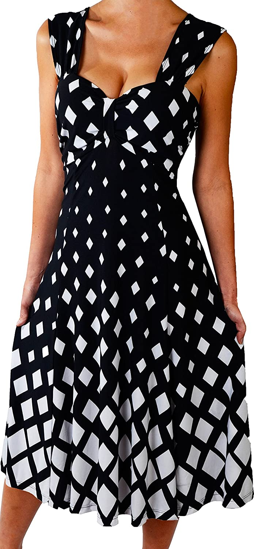 Funfash Plus Size Midi Dress Slimming A Line Cocktail Cruise Dress Black White