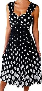 Plus Size Midi Dress Slimming A Line Cocktail Cruise Dress Black White