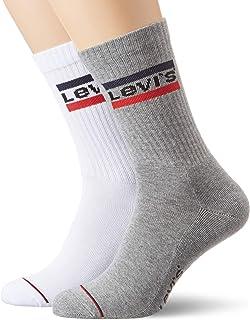 Levi's Men's 144ndl Regular Cut Sprtwr Logo 2p Calf Socks
