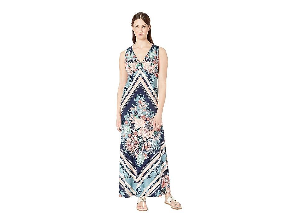 London Times V-Neck Scarf Print Maxi Dress (Navy/Peach) Women