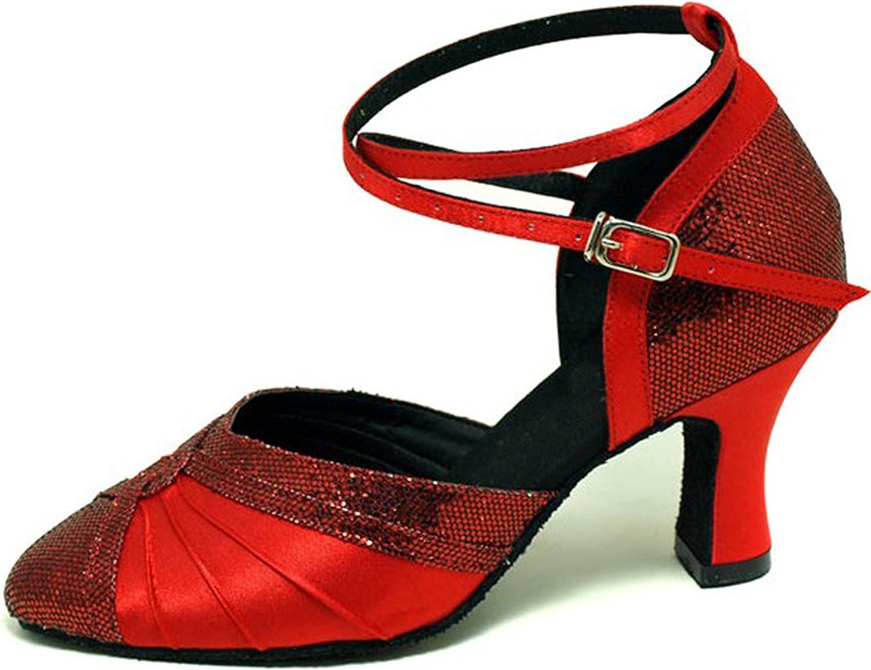 colorfulworld Red hexagon Satin Flap lady Ballroom Modern Waltz Tango dance shoes