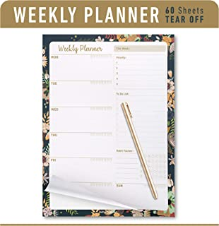 """Oriday Weekly Planners Premium Task Organizer Pad - 60 Sheets - Undated Planning System with Priorities, to-do List, Memo and Habit Trackers & Tear-Away Notepad, Water Intake Tracker - 8.5"""" X 11"""