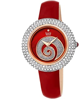 Burgi Women's BUR209 Swarovski Crystal Diamond Accented Sparkle Swirl Mother of Pearl Leather Strap Watch - Packed in a Beautiful Gift Box for Valentines Day