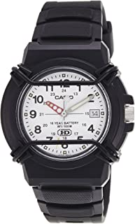 Casio Men's HDA600B-7BV Black Resin Quartz Watch with White Dial